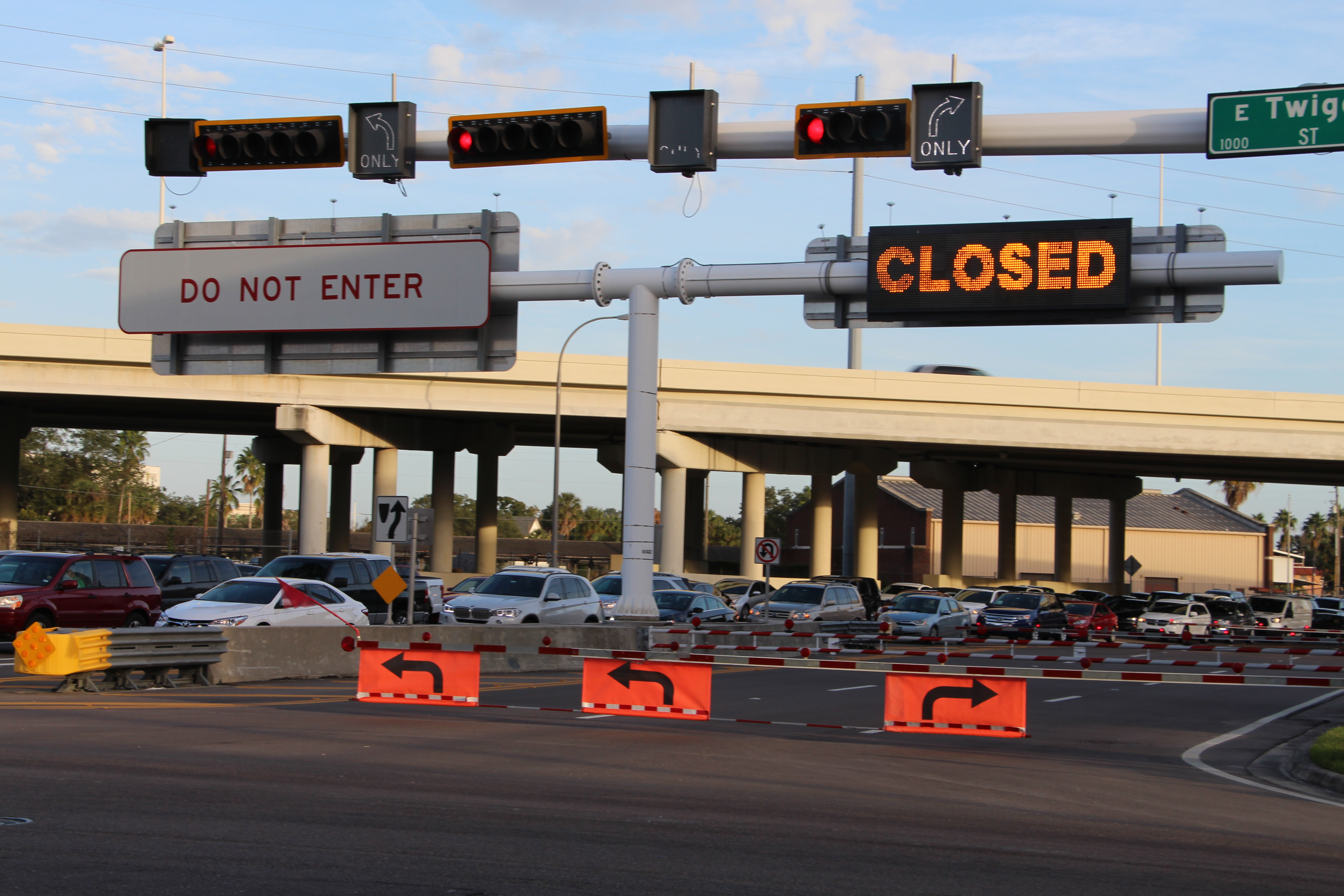 The downtown end of the Lee Roy Selmon Expressway's Reversible Express Lanes is a potential entry point for wrong-way drivers. CVs will receive warnings when a wrong-way driver is approaching.
