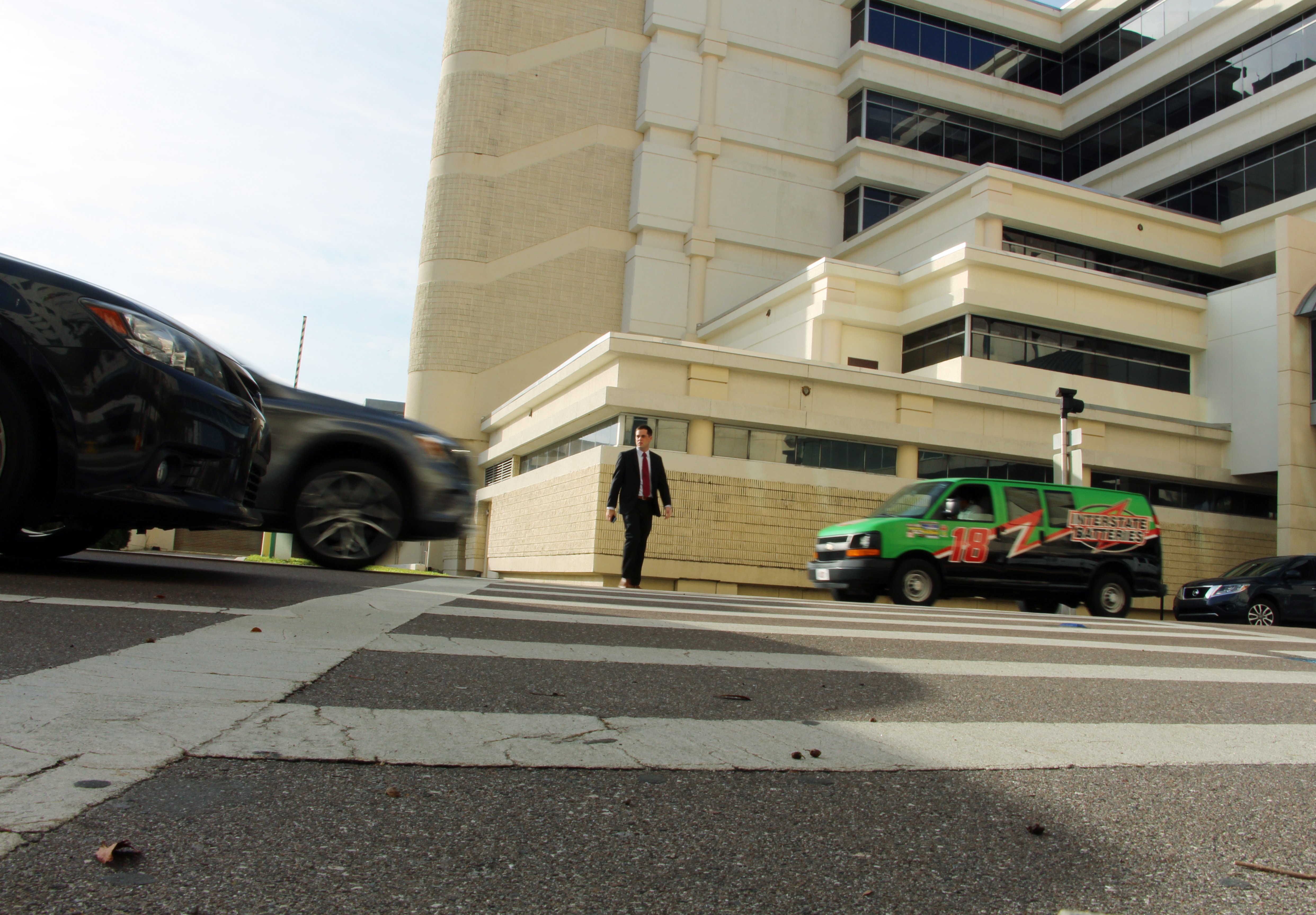 CV technology at a crosswalk at the Hillsborough County Courthouse will broadcast pedestrian presence alerts to CVs in the vicinity.