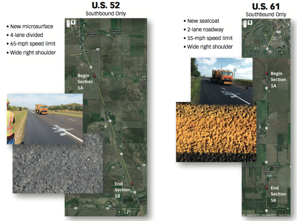 A side-by-side comparison of the two test sections.
