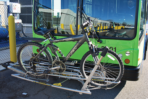 Buses are able to transport multiple bicycles.