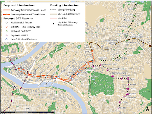 Oakland Corridor proposed development against existing infrastructure