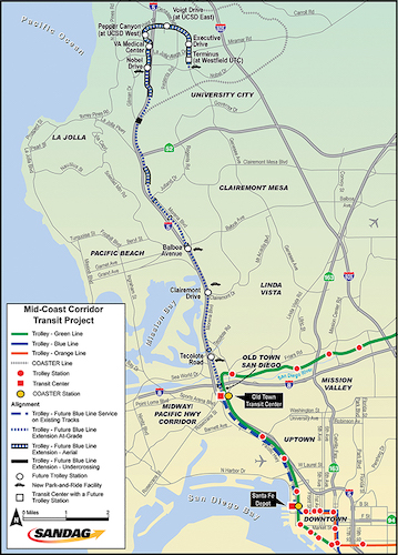 Mid-Coast Corridor Transit Project San Diego map