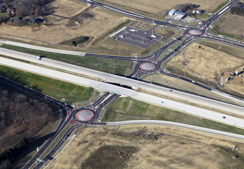 Here at the I-94 & Main Street Interchange in Cottage Grove, Wisconsin, with no turn lanes between the modern roundabouts, the interchange spans are short.