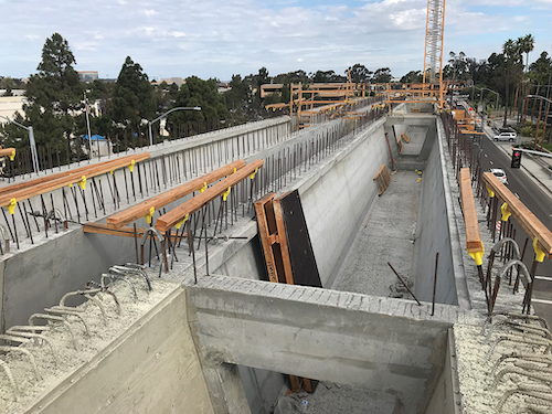 Precast columns are being employed on the viaduct install.