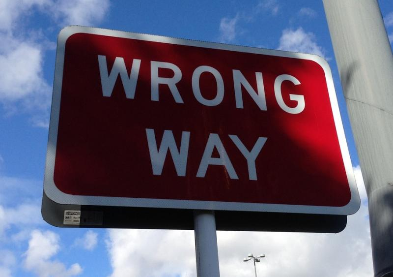 Wrong way driving warning sign
