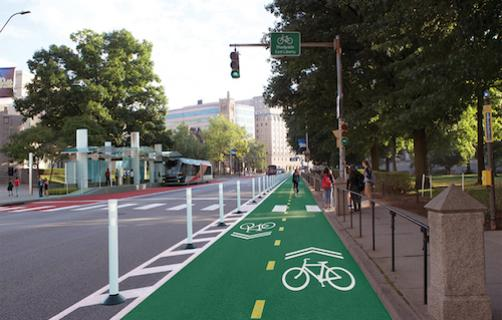 A dedicated bike lane on Fifth Ave in the Oakland neighborhood.